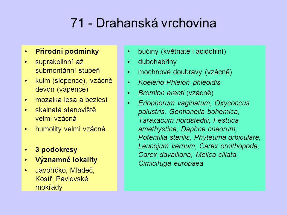 71 - Drahanská vrchovina Přírodní podmínky