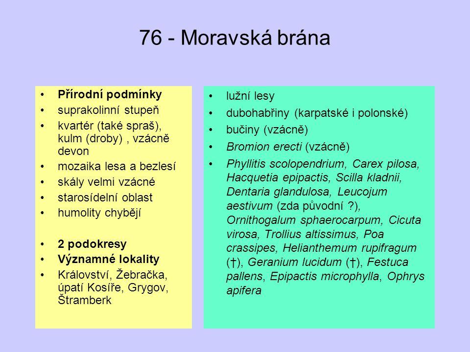 76 - Moravská brána Přírodní podmínky suprakolinní stupeň