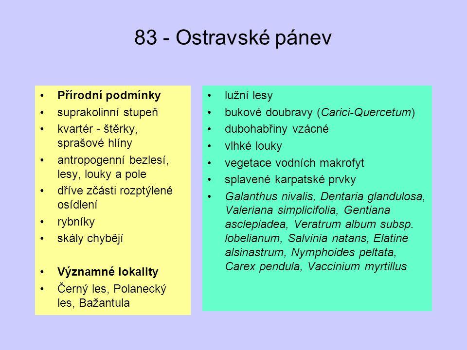 83 - Ostravské pánev Přírodní podmínky suprakolinní stupeň
