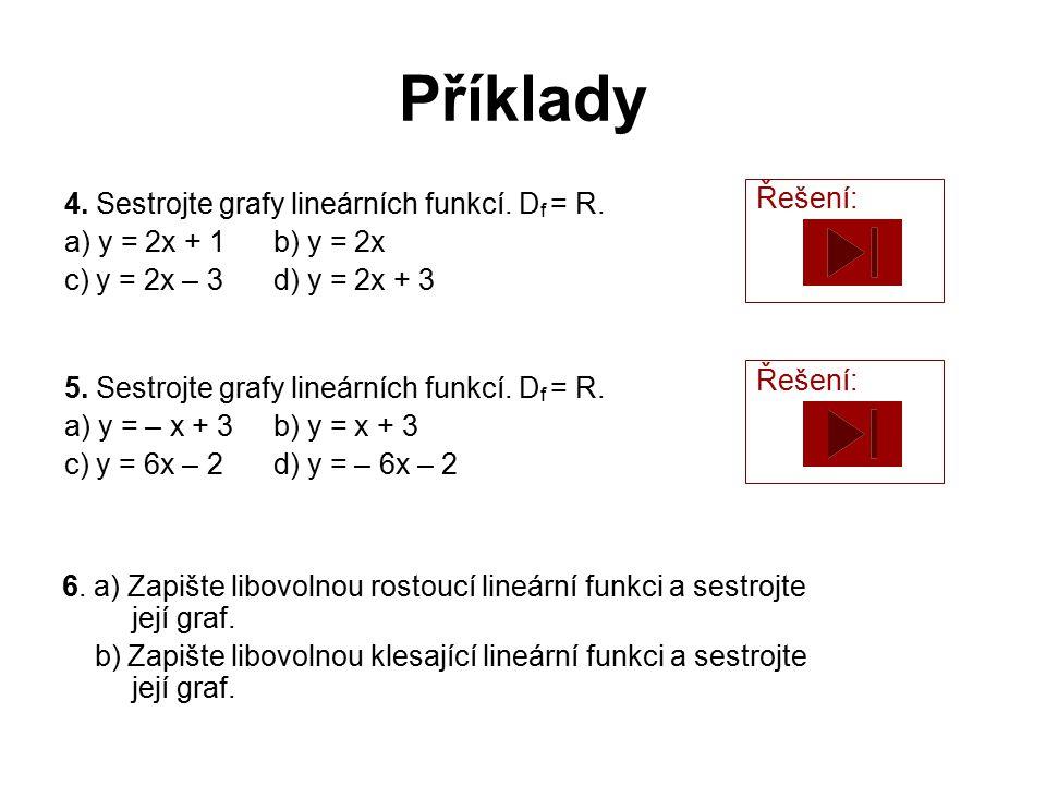 Příklady Řešení: 4. Sestrojte grafy lineárních funkcí. Df = R.