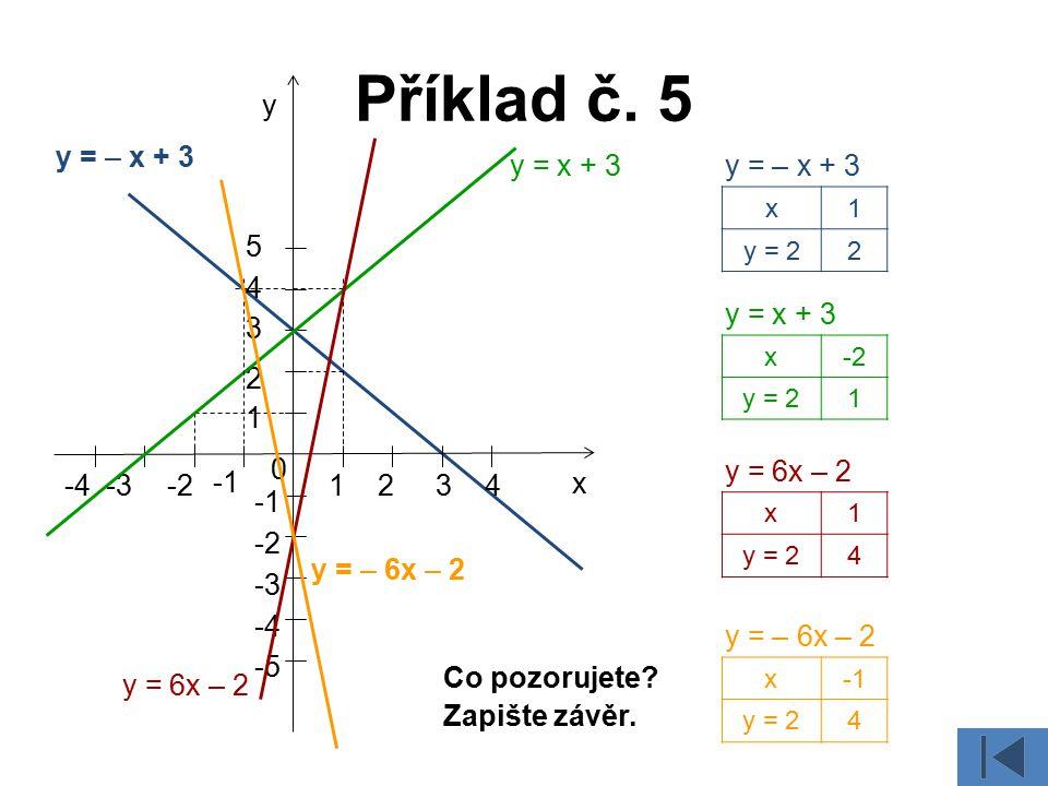 Příklad č. 5 y y = – x + 3 y = x + 3 y = – x + 3 5 4 y = x + 3 3 2 1