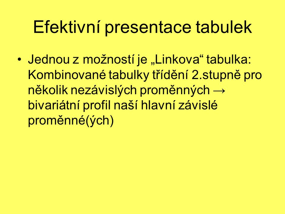 Efektivní presentace tabulek