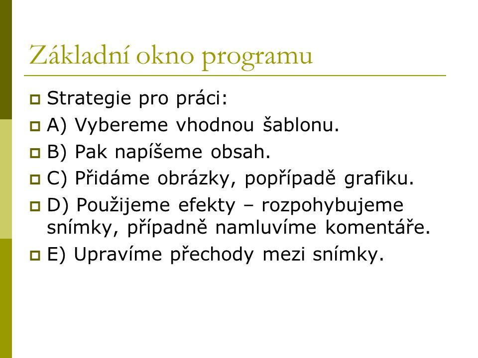 Základní okno programu