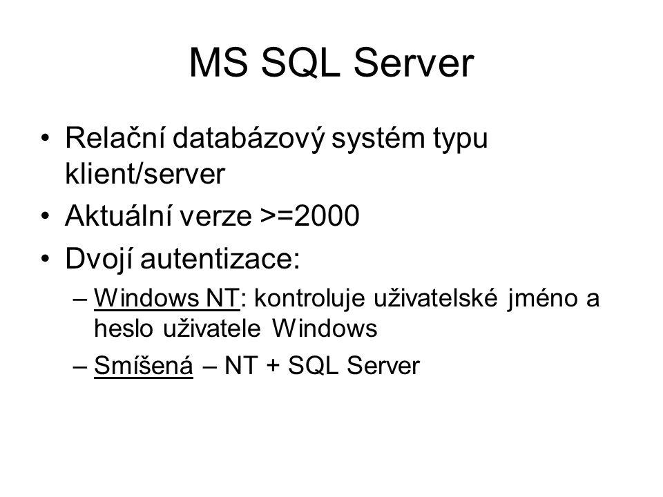 MS SQL Server Relační databázový systém typu klient/server