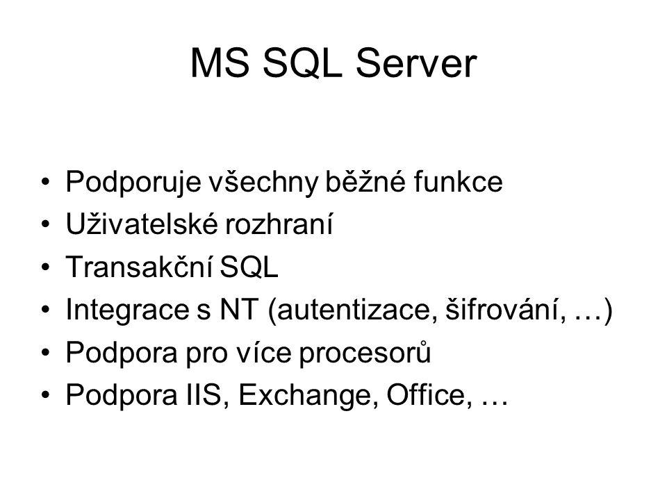 MS SQL Server Podporuje všechny běžné funkce Uživatelské rozhraní