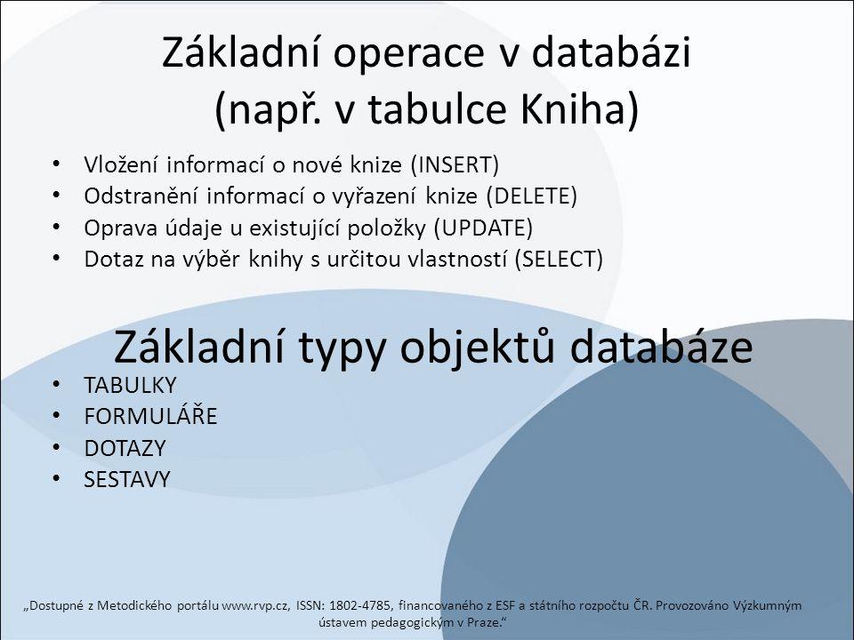 Základní operace v databázi (např. v tabulce Kniha)