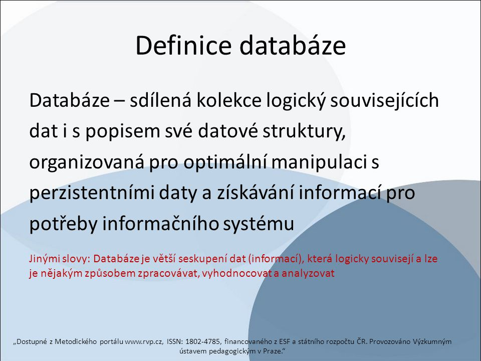 Definice databáze