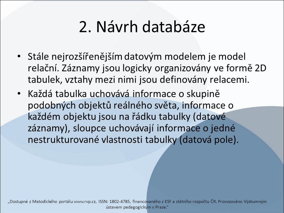 2. Návrh databáze