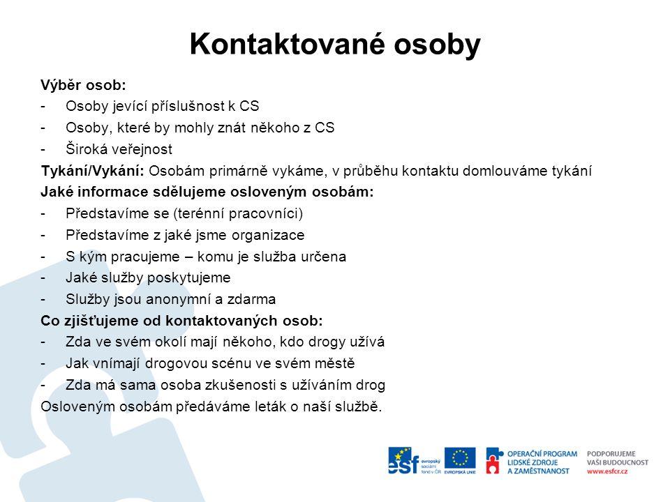 Kontaktované osoby Výběr osob: Osoby jevící příslušnost k CS
