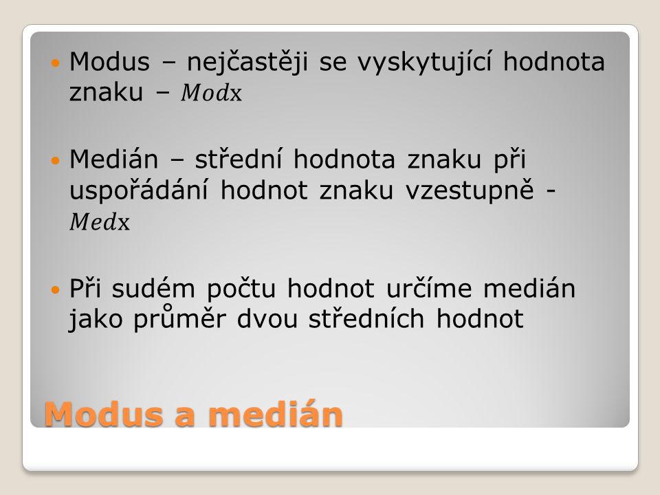 Modus a medián Modus – nejčastěji se vyskytující hodnota znaku – 𝑀𝑜𝑑x