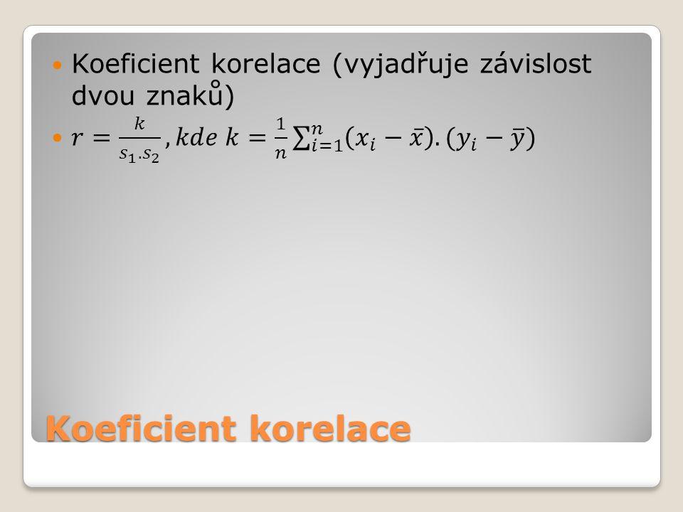 Koeficient korelace (vyjadřuje závislost dvou znaků)