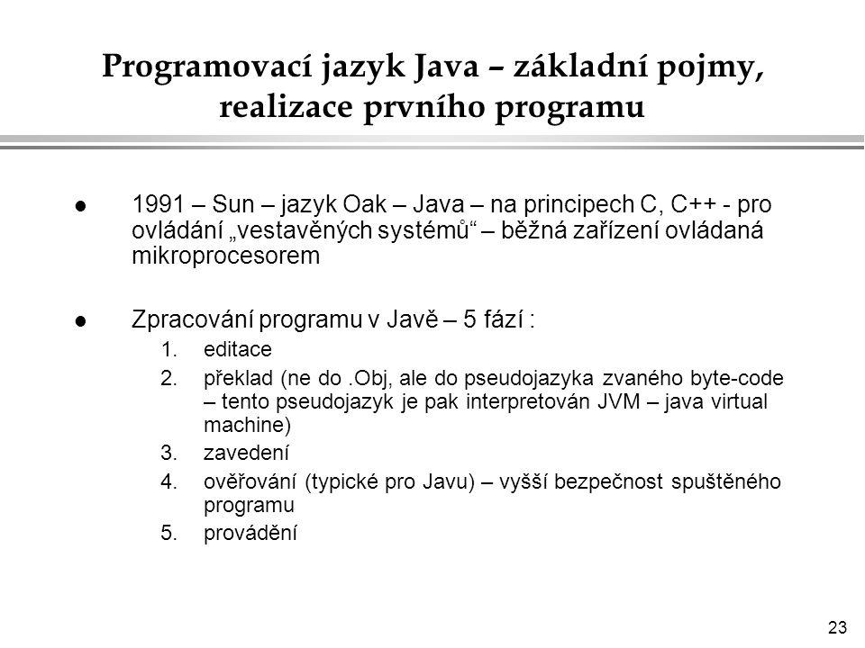 Programovací jazyk Java – základní pojmy, realizace prvního programu