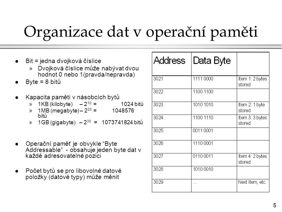 Organizace dat v operační paměti