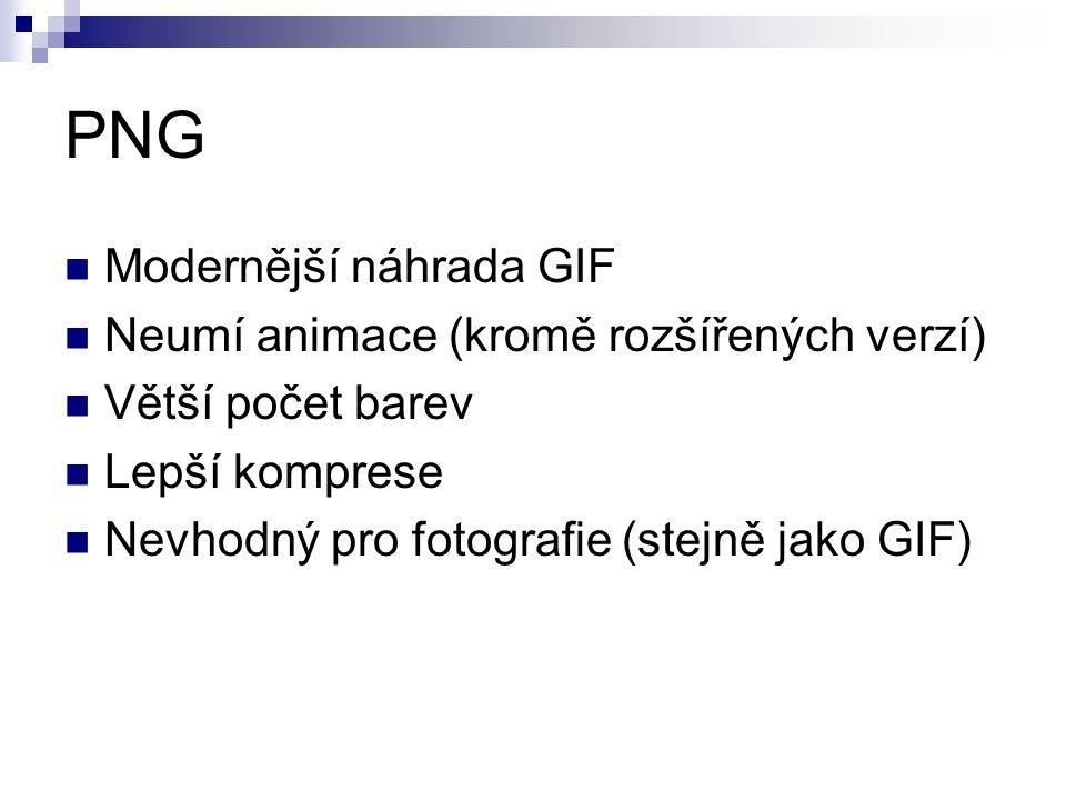 PNG Modernější náhrada GIF Neumí animace (kromě rozšířených verzí)
