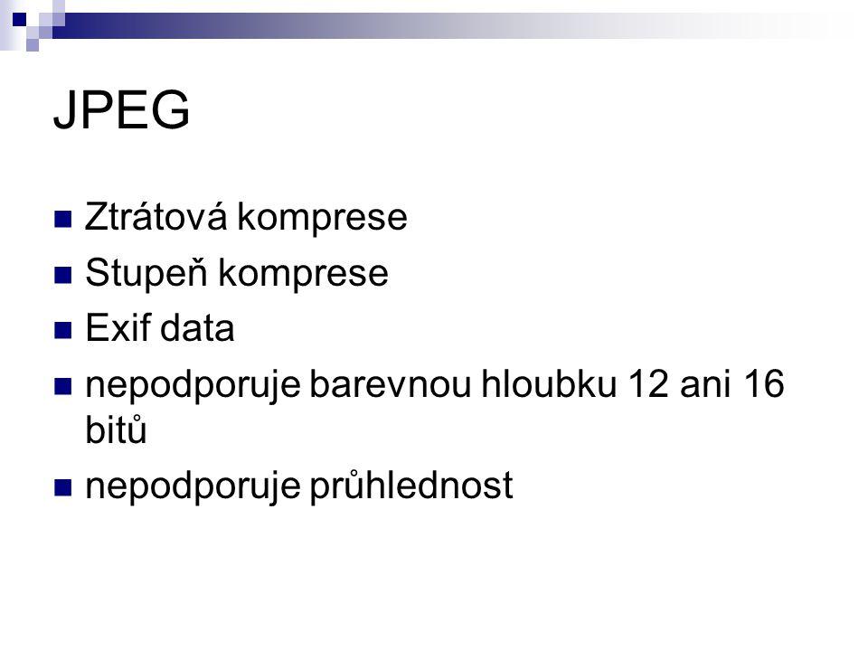 JPEG Ztrátová komprese Stupeň komprese Exif data
