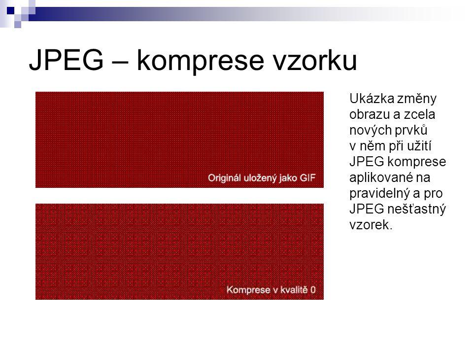 JPEG – komprese vzorku Ukázka změny obrazu a zcela nových prvků v něm při užití JPEG komprese aplikované na pravidelný a pro JPEG nešťastný vzorek.