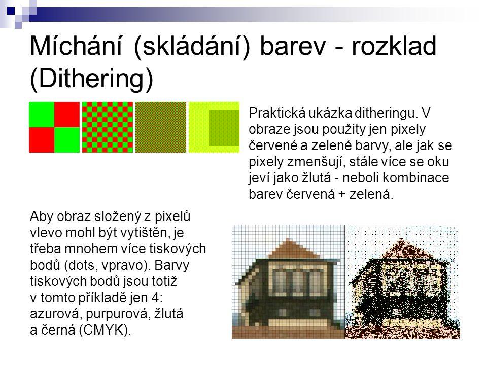 Míchání (skládání) barev - rozklad (Dithering)