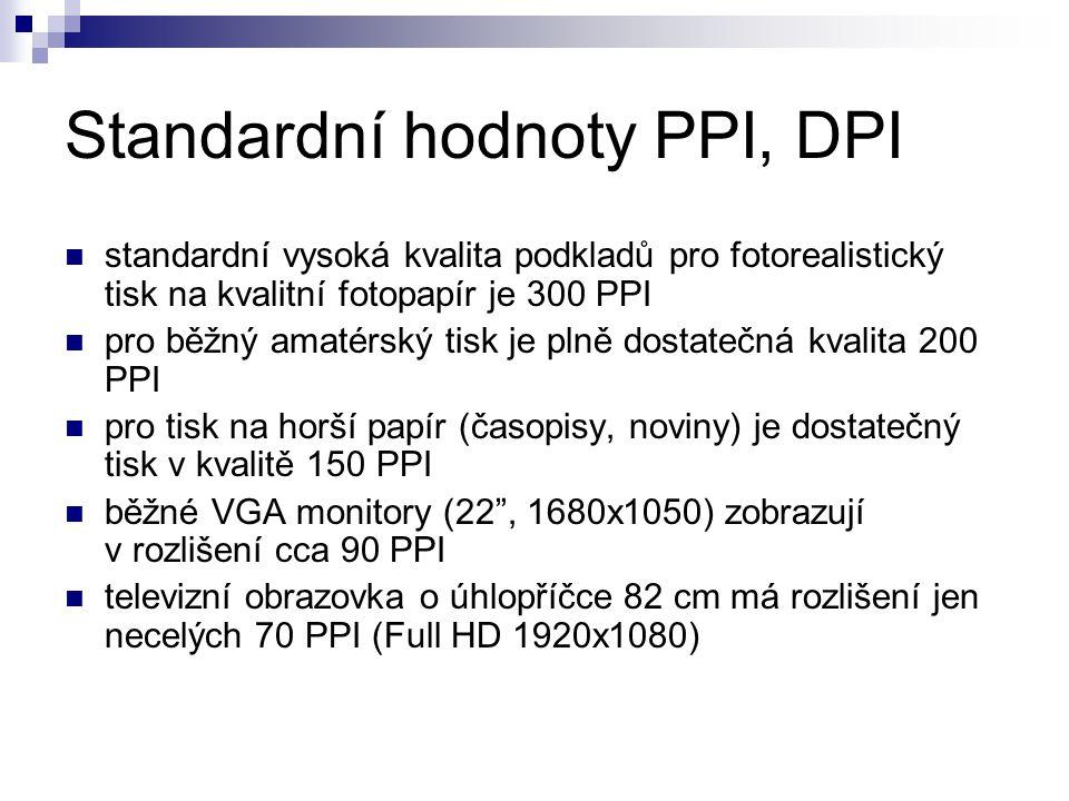 Standardní hodnoty PPI, DPI