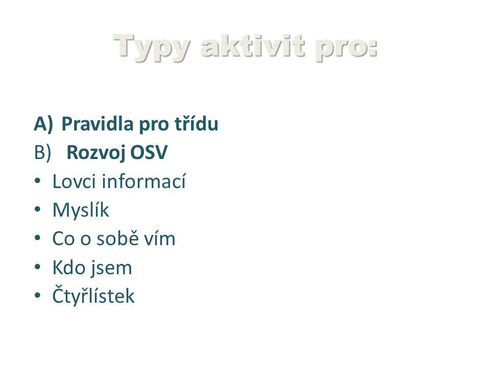 Typy aktivit pro: Pravidla pro třídu Rozvoj OSV Lovci informací Myslík