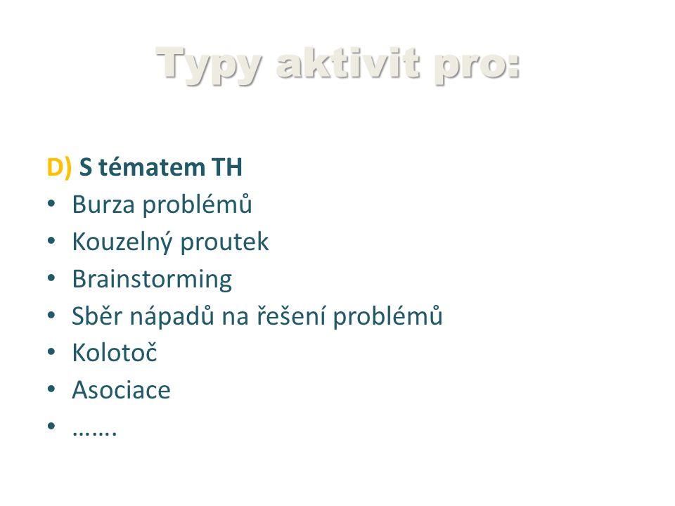 Typy aktivit pro: D) S tématem TH Burza problémů Kouzelný proutek