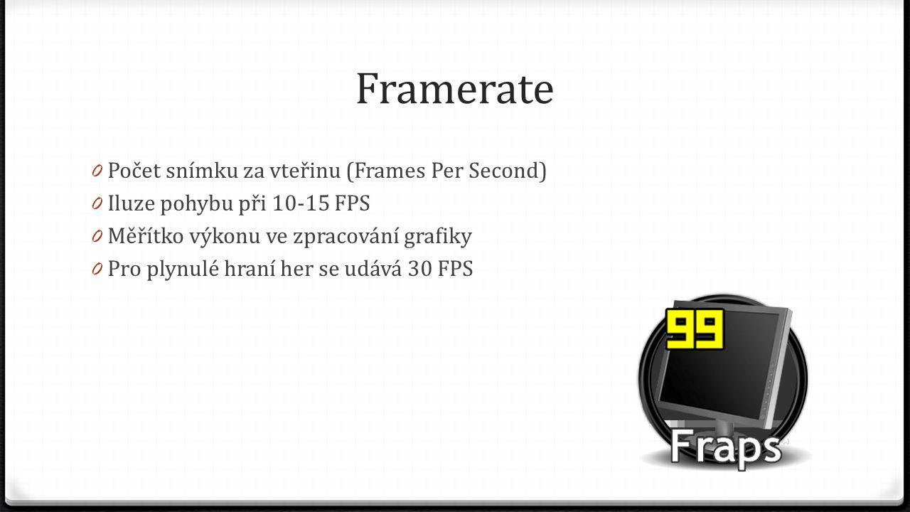 Framerate Počet snímku za vteřinu (Frames Per Second)
