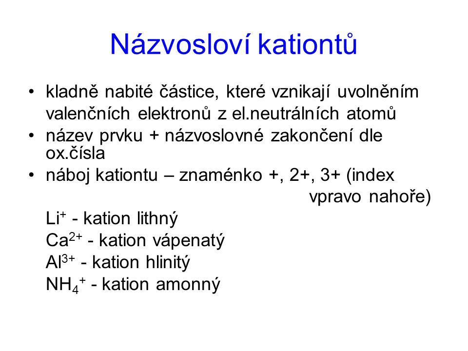 Názvosloví kationtů kladně nabité částice, které vznikají uvolněním