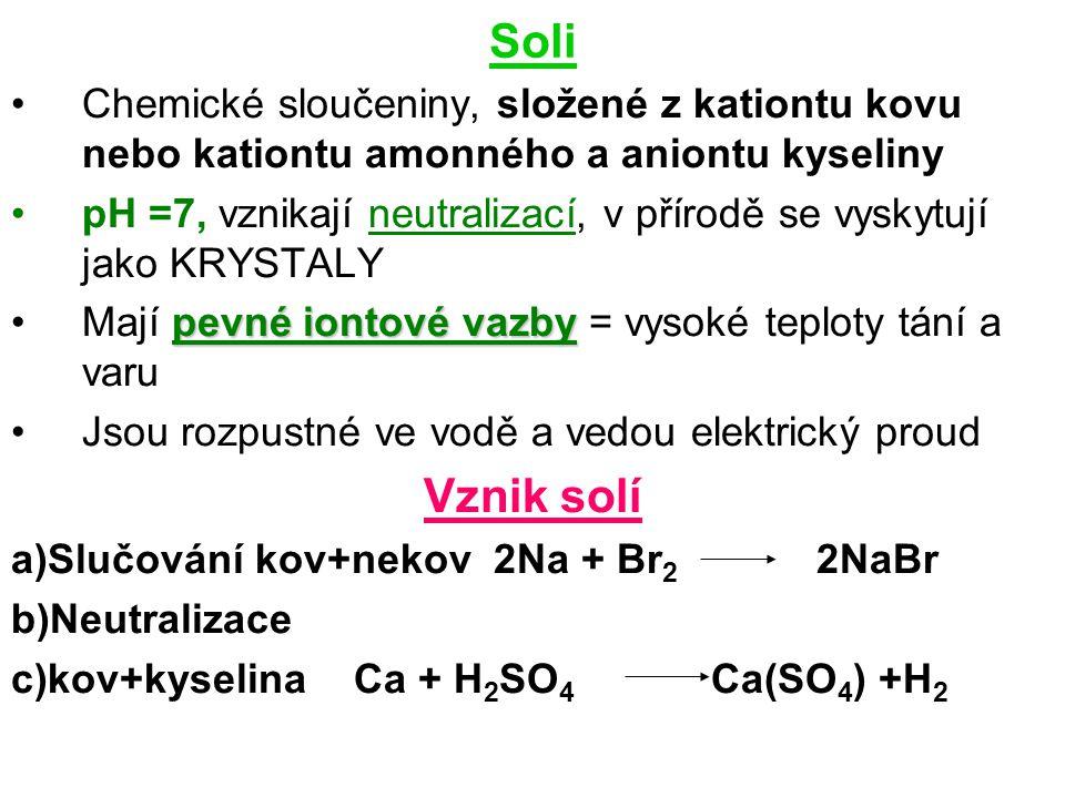 Soli Chemické sloučeniny, složené z kationtu kovu nebo kationtu amonného a aniontu kyseliny.