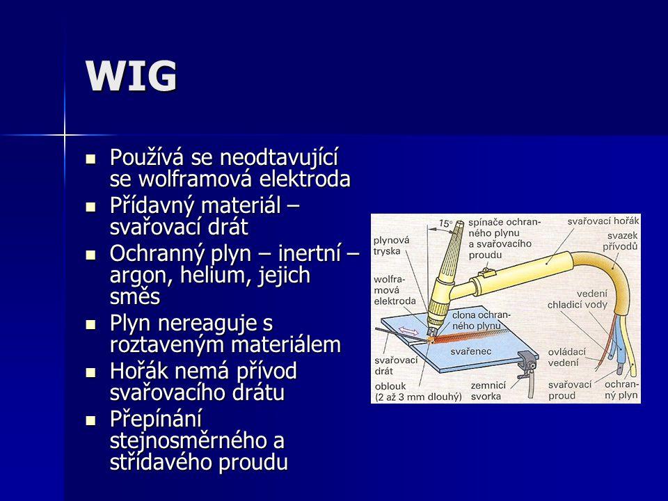 WIG Používá se neodtavující se wolframová elektroda
