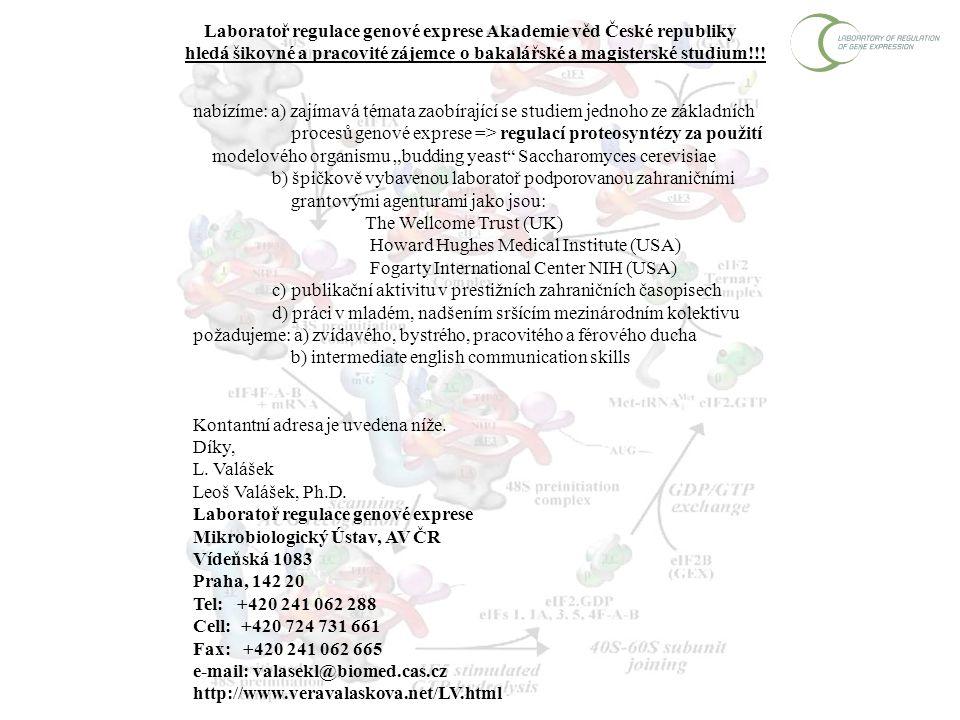 Laboratoř regulace genové exprese Akademie věd České republiky