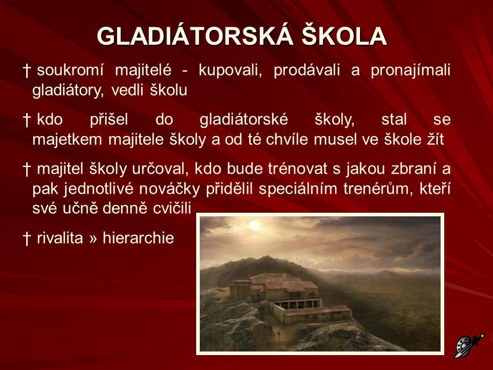 GLADIÁTORSKÁ ŠKOLA soukromí majitelé - kupovali, prodávali a pronajímali gladiátory, vedli školu.