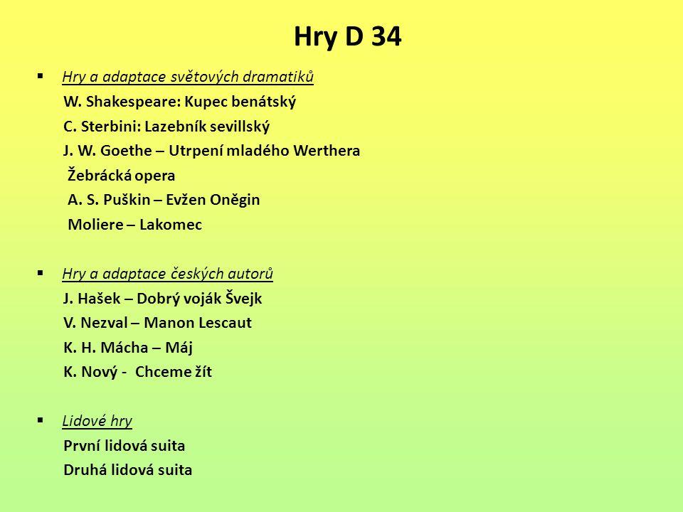 Hry D 34 Hry a adaptace světových dramatiků