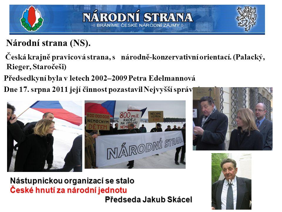 Národní strana (NS). Česká krajně pravicová strana, s národně-konzervativní orientací. (Palacký, Rieger, Staročeši)