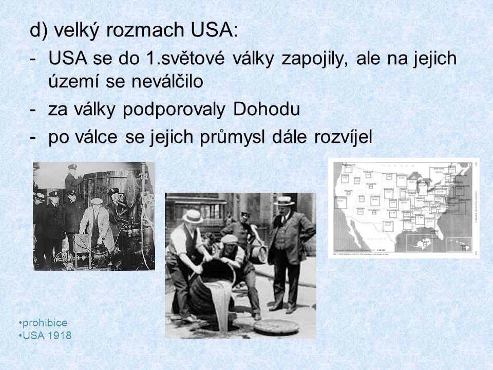 d) velký rozmach USA: USA se do 1.světové války zapojily, ale na jejich území se neválčilo. za války podporovaly Dohodu.