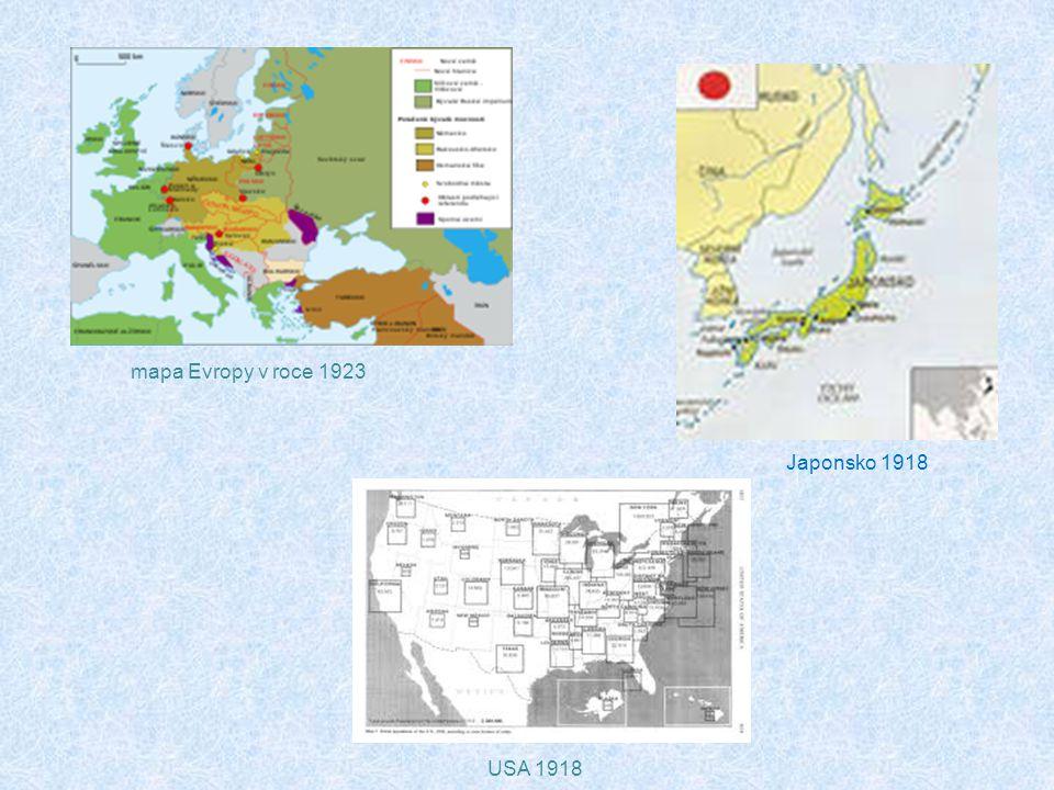mapa Evropy v roce 1923 Japonsko 1918 USA 1918