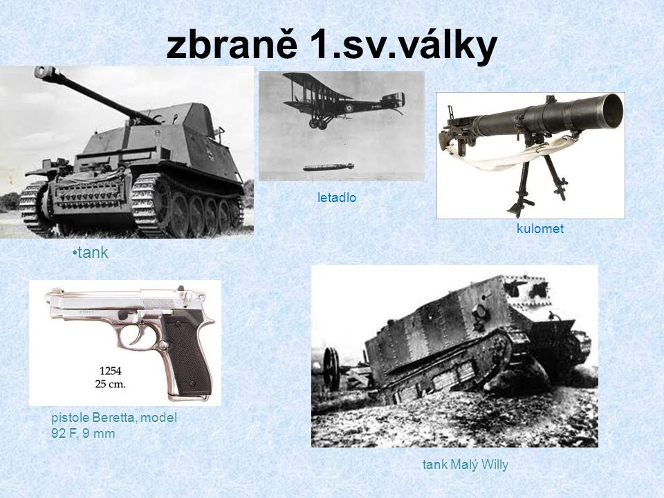zbraně 1.sv.války tank letadlo kulomet