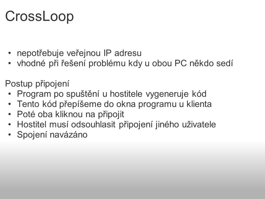 CrossLoop nepotřebuje veřejnou IP adresu