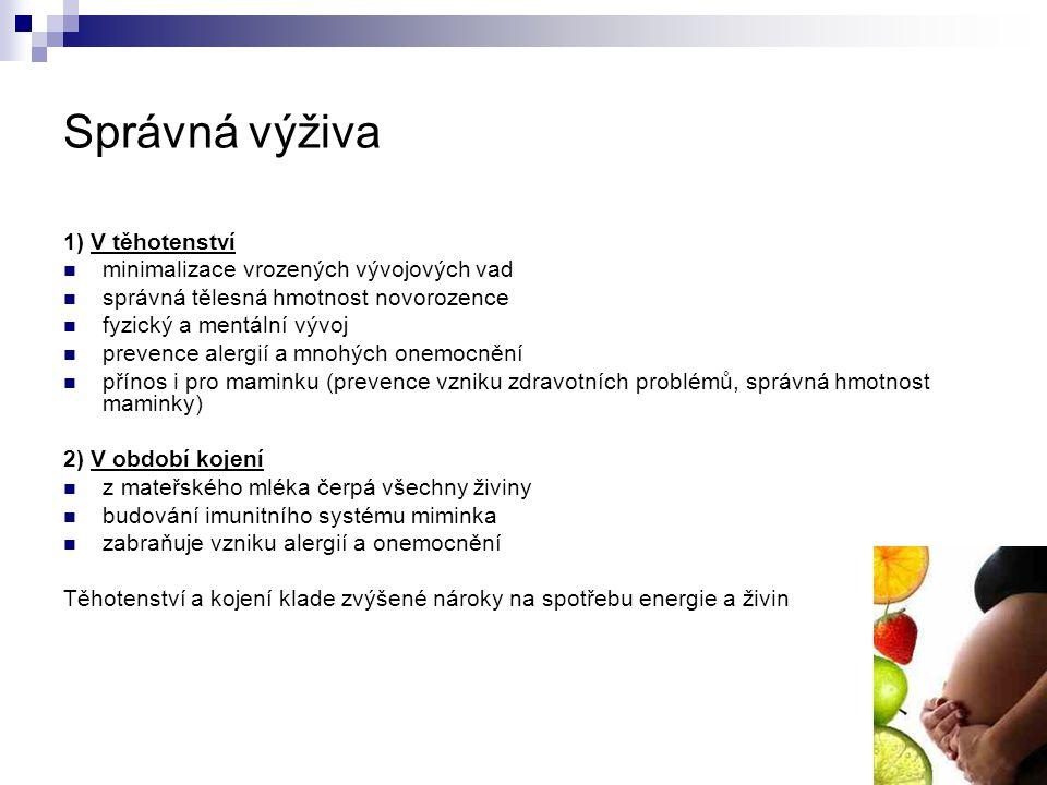 Správná výživa 1) V těhotenství minimalizace vrozených vývojových vad