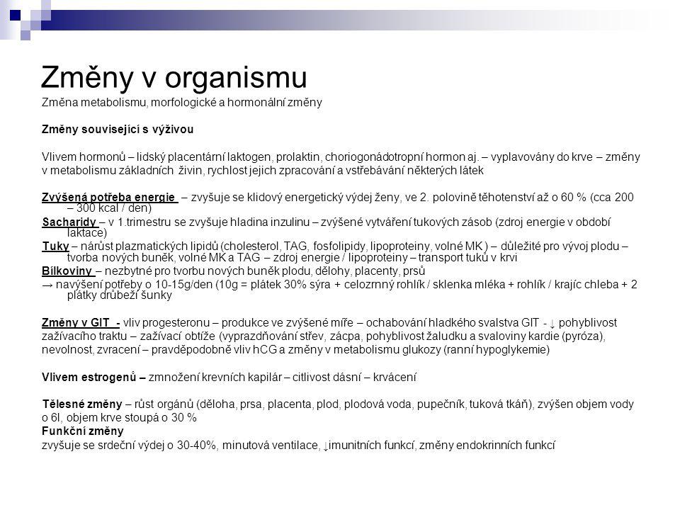 Změny v organismu Změna metabolismu, morfologické a hormonální změny