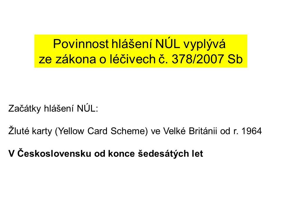 Povinnost hlášení NÚL vyplývá ze zákona o léčivech č. 378/2007 Sb