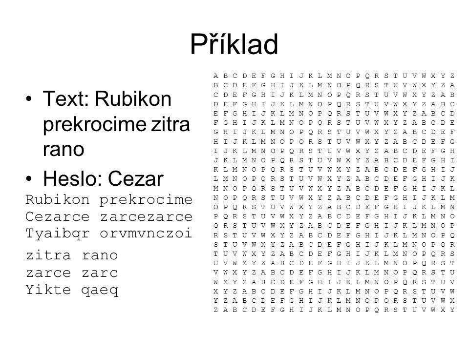 Příklad Text: Rubikon prekrocime zitra rano Heslo: Cezar
