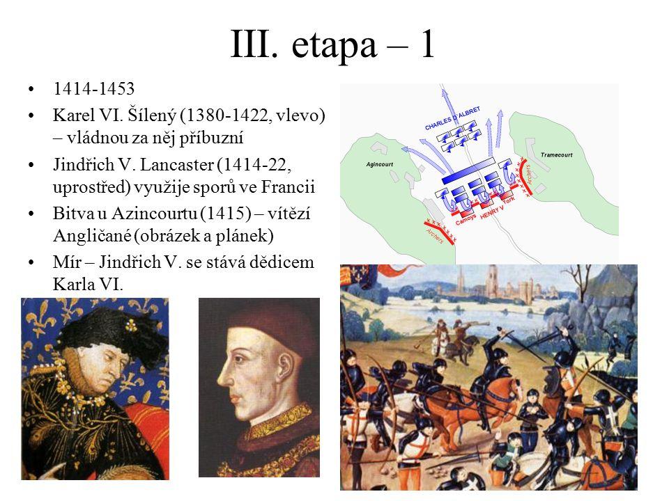 III. etapa – 1 1414-1453. Karel VI. Šílený (1380-1422, vlevo) – vládnou za něj příbuzní.
