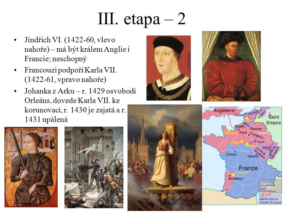 III. etapa – 2 Jindřich VI. (1422-60, vlevo nahoře) – má být králem Anglie i Francie; neschopný.