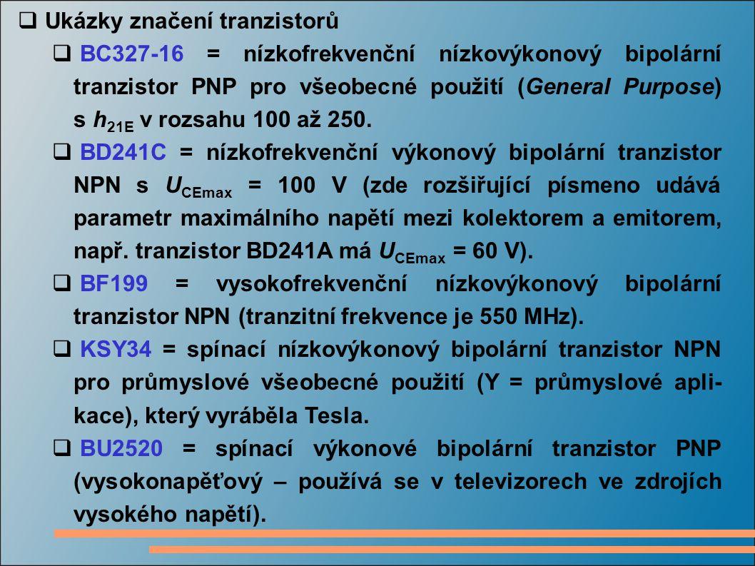 Ukázky značení tranzistorů