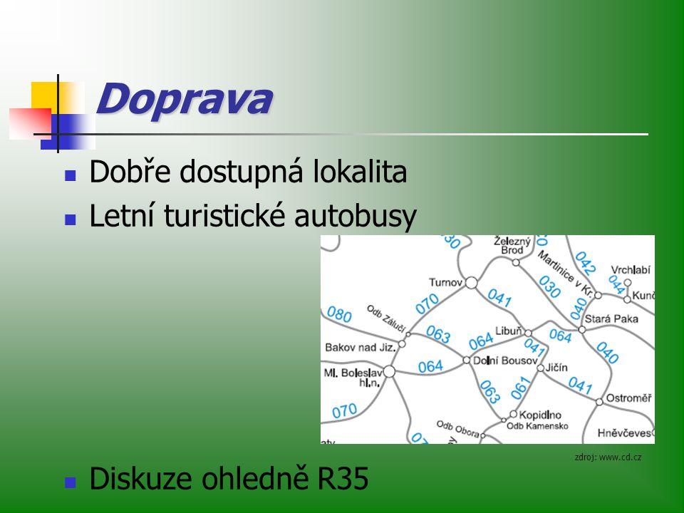 Doprava Dobře dostupná lokalita Letní turistické autobusy