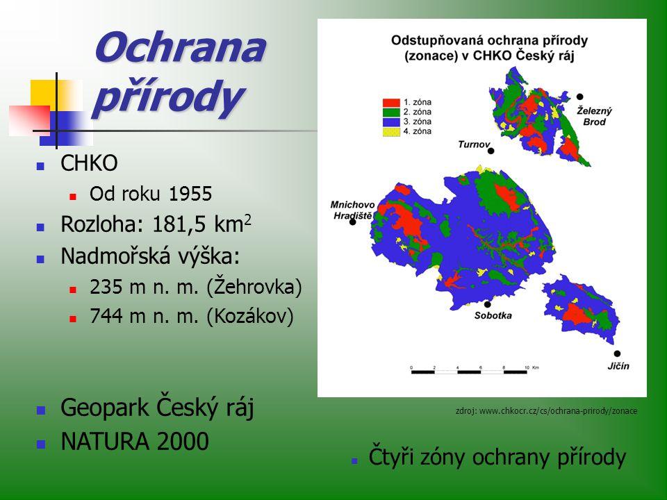Ochrana přírody Geopark Český ráj NATURA 2000 CHKO Rozloha: 181,5 km2