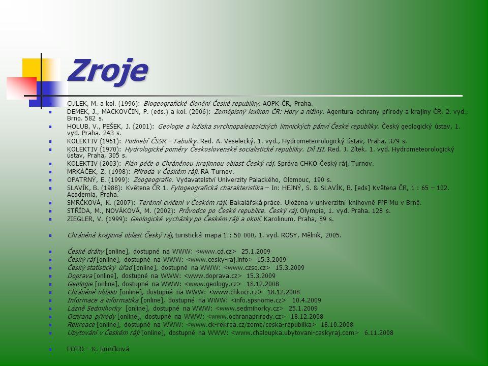 Zroje CULEK, M. a kol. (1996): Biogeografické členění České republiky. AOPK ČR, Praha.
