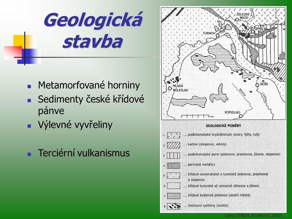 Geologická stavba Metamorfované horniny Sedimenty české křídové pánve