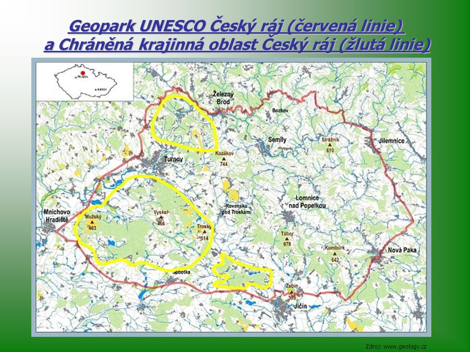 Geopark UNESCO Český ráj (červená linie)