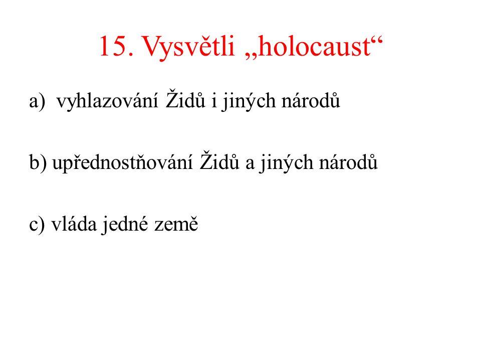 """15. Vysvětli """"holocaust vyhlazování Židů i jiných národů"""
