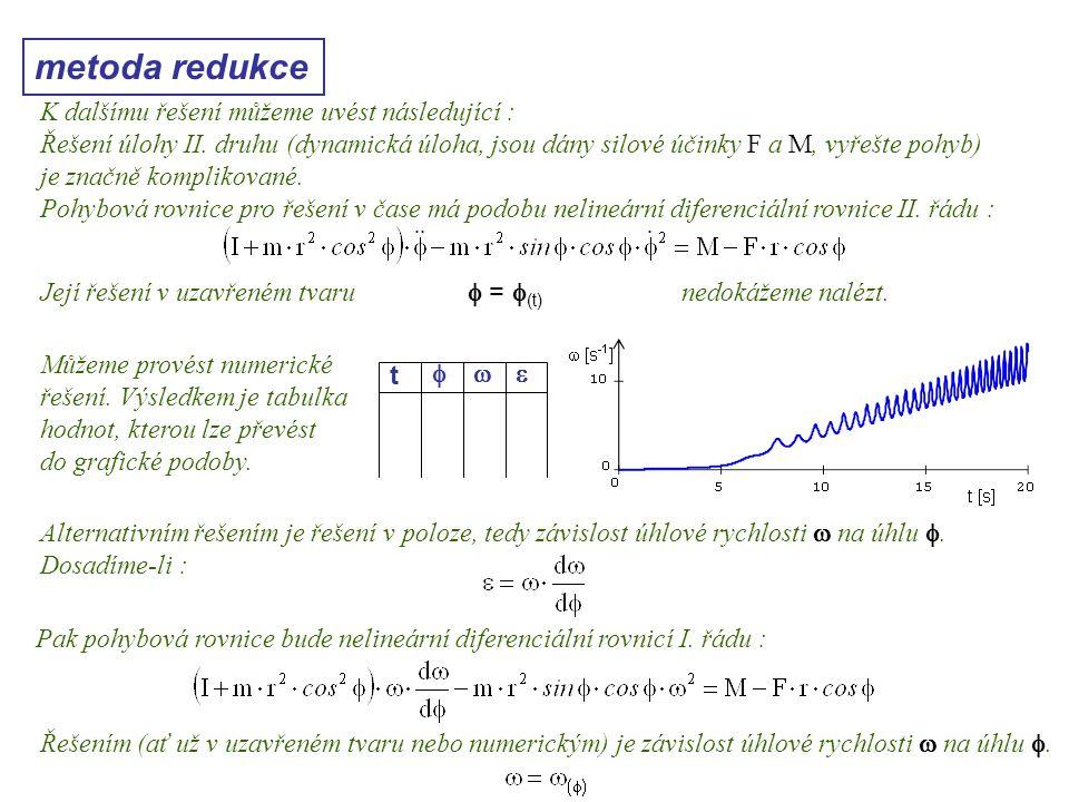 metoda redukce Dynamika I, 10. přednáška